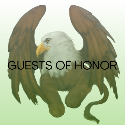Image of bald eagle griffon. Text reads: Guests of Honor